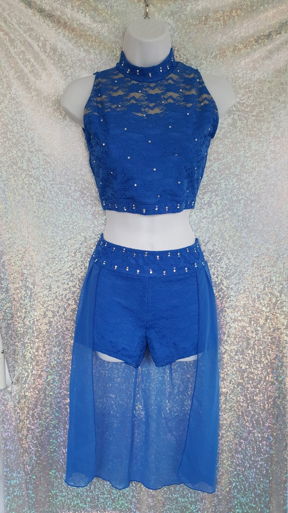 Any color. Lace Lyrical Dance Costume with BLING style 88-42