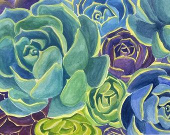 Blooming Succulents Art Print