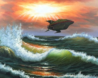 Futurama Planet Express Parody Painting - Print Poster Canvas - Humor Funny Futurama Fan Gift Print Spaceship Ship Parody Altered Thrift Art