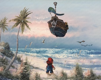 Super Mario Brothers Parody, Bowser Airship Painting - Print Poster Canvas - Altered Art - Cute Mario Kart Artwork for Kids Game Room Gift