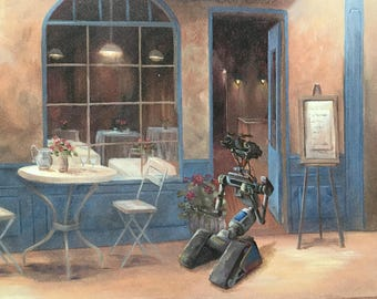 Short Circuit Movie Parody Print, Johnny Five Parody Painting - Thrift Art Addition - Print Poster Canvas - Cute Robot Art for Kids Room