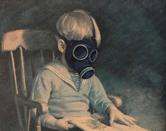 Doctor Who Gas Mask (Are You My Mummy) Parody, 'Empty Child' - Enhanced Altered Thrift Art - Print, Poster, Canvas - Funny Dr Who Artwork