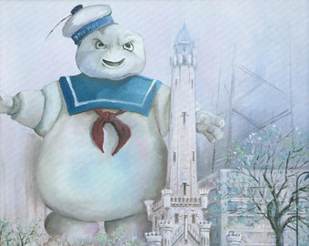 Ghostbusters Stay Puft Parody Painting - Print Poster Canvas - Funny Marshmellow Man Marshmallow Ghostbuster's Fan Gift Artwork - Enhanced