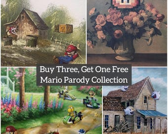 Super Mario Parody Art Collection - Prints Posters Canvas - Repurposed Thrift - Mario Bros Gift Pack Funny Mario Kart Gift Set Video Game