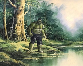 Hulk Parody  - Repurposed Thrift Art - Print, Poster, or Canvas - Funny Superhero Comic Painting Surrealist Pop Culture Green Giant Artwork