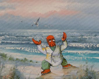 Futurama Parody Painting with Zoidberg - Altered Thrift Art - Print Poster Canvas - Funny Gift for Futurama Fan Dr. Zoidburg Beach Scuttle