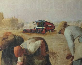 Farm Tractor Painting, 'There's Got to Be a Better Way' - Repurposed Altered Thrift Art - Print, Poster, Canvas - Funny The Gleaners Print