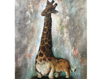 Unnatural Selection I - Corgiraffe - Cute Corgi Giraffe Mashup - Print Poster Canvas - Funny Artwork for Animal Lover Corgie Painting