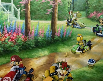 Super Mario Kart Parody Painting, Ridin Dirty - Print Poster Canvas - Funny Mario Fan Gift Artwork for Game Room Gift for Video Gamer Guy