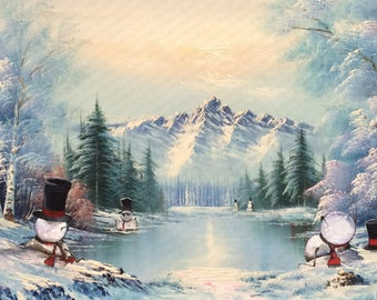 Funny Snowman Painting, 'Thaw' -Repurposed Thrift Art - Print Poster Canvas - Cute Snowmen Hot Tub Winter Holiday Snow Christmas Decor Art