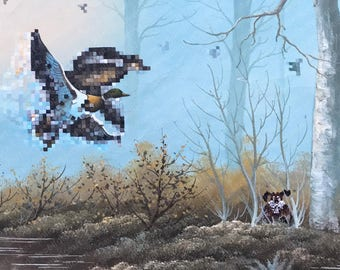 Duck Hunt Parody Painting - Print Poster Canvas - Pixelated Ducks Dog Parody Duck Hunt Video Game Funny Gamer Art for Game Room Pop Culture
