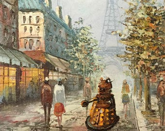 Doctor Who Dalek Parody - Altered Thrift Art -  Print, Poster, Canvas - Dr. Who Fan Art, Funny Dalek in Paris Gift Impressionist Painting