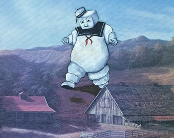 Ghostbusters Stay Puft Parody Painting, 'Stay Puft' - Repurposed Thrift Art - Print Poster - Funny Marshmallow Marshmellow Man Fan Gift Art