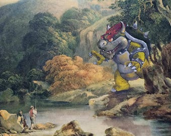 Super Mario Brothers Bowser Parody Painting - Enhanced Altered Thrift Art - Print Poster Canvas - Gift for Mario Fan, Funny Gamer Gift Art