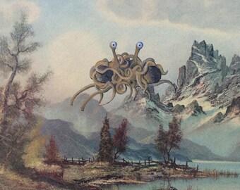 Flying Spaghetti Monster Parody Painting, 'Al Dente' - Repurposed, Altered Thrift Art - Print Poster Canvas - Church of FSM Gift Artwork