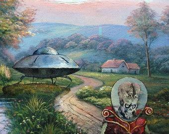 Mars Attacks Martian Ambassador Parody Painting - Altered Thrift Painting - Print, Poster, Canvas - Funny Alien Spaceship Fan Gift Artwork