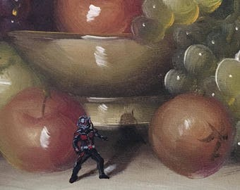 Ant Man Parody - Repurposed Altered Thrift Art - Print, Poster, Canvas - Funny Ant Man Parody Fan Gift Artwork Painting for Kids Room Hero
