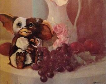 Gremlins Mogwai Gizmo Parody Painting, '11:59 PM' - Print Poster Canvas - Funny Gremlins Gift, Cute Gizmo Print Artwork Art -Enhanced Thrift