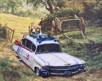 Ghostbusters Car Parody Painting ECTO1' - Altered Thrift Art - Print, Poster, Canvas- Funny Ghostbusters Ambulance Movie Fan Gift Artwork