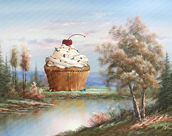 Giant Cupcake Surrealist Landscape - Altered Thrift Art - Print Poster Canvas - Funny Bakery Art for Baker Cute Food Painting Funfetti Cake
