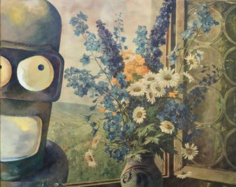 Futurama Parody Painting with Bender Robot, 'Outside, Looking In' - Repurposed Thrift Art - Print Poster Canvas - Art for Husband Man Cave