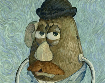 Potato Pota-gogh Vincent Van Gogh - Mr. Potato Head Parody - Altered Art - Print Poster Canvas - Funny Pop Culture Modified Famous Painting