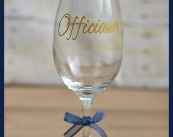 FAST SHIPPING-Personalized Wedding Wine Glass for Officiant