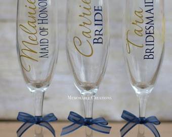 FAST SHIPPING-Personalized Wedding Champagne Flutes for Bride and Bridesmaids, Bridal Party