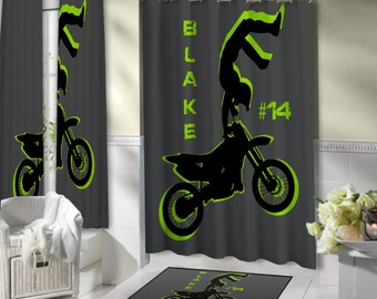 Motocross Shower Curtain Boys Atv Sports Green Amp White