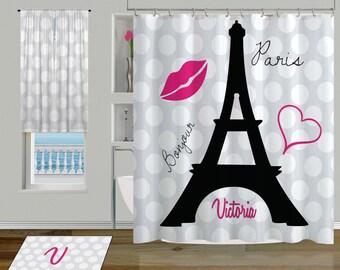 Bathroom Shower Curtains Black And White Polka Dot Curtain Paris Eiffel Tower 79