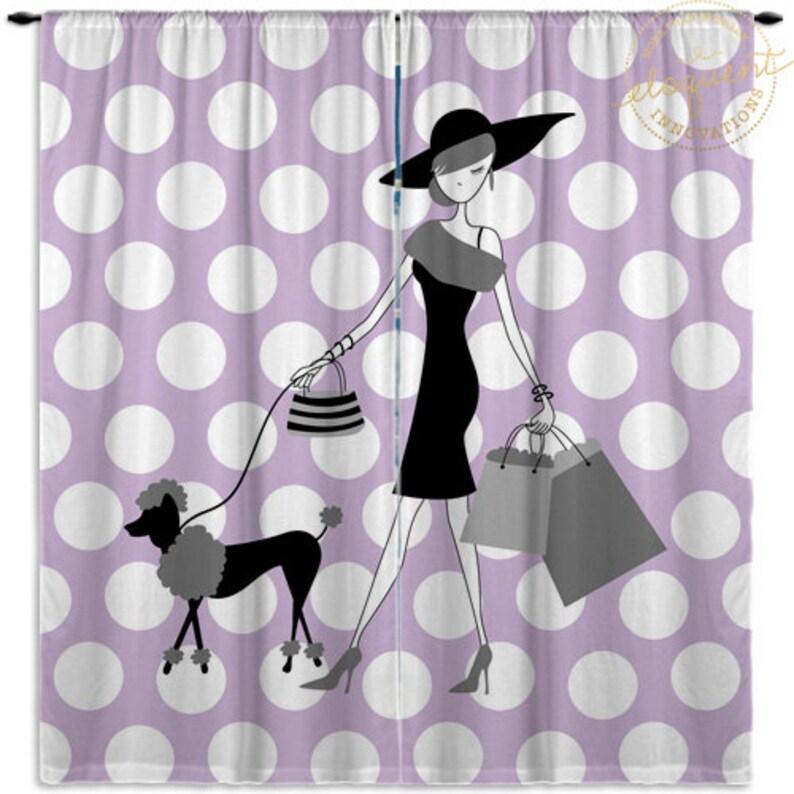 Purple Custom Size Curtain Panels #224 Curtians for Teen Rooms Paris Fashion Polka Dot Teen Curtains