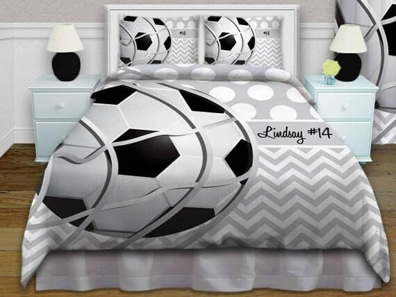Fussball Komfort Set Grau Und Weiss Bettwasche Fussball Bettzeug Individuelle Personalisierte Kinder Bettwasche Konig Konigin Voll Twin Xl 374