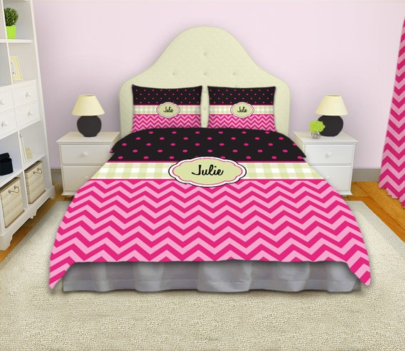 chevron bedding personalized duvet cover pink bedding polka etsy