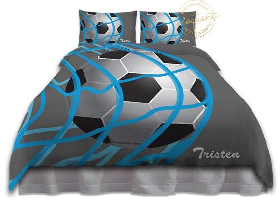 Jungen Fussball Bettwasche Bettbezug Grau Blau Fussball Bettwasche Kinder Sport Personalisiert Konig Konigin Voll Twin Xl 266