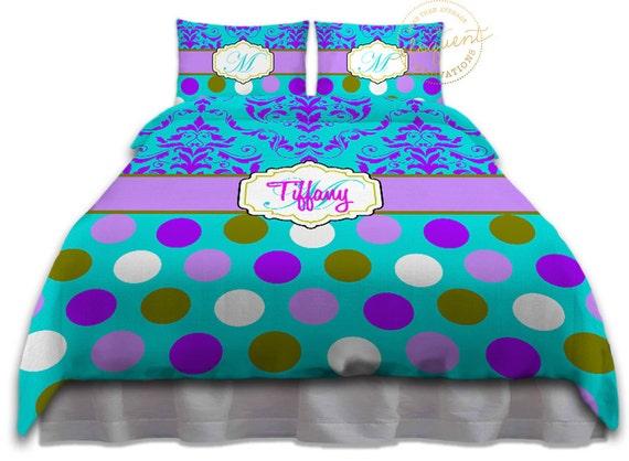 housse de couette turquoise et mauve polka dot joli damass etsy. Black Bedroom Furniture Sets. Home Design Ideas