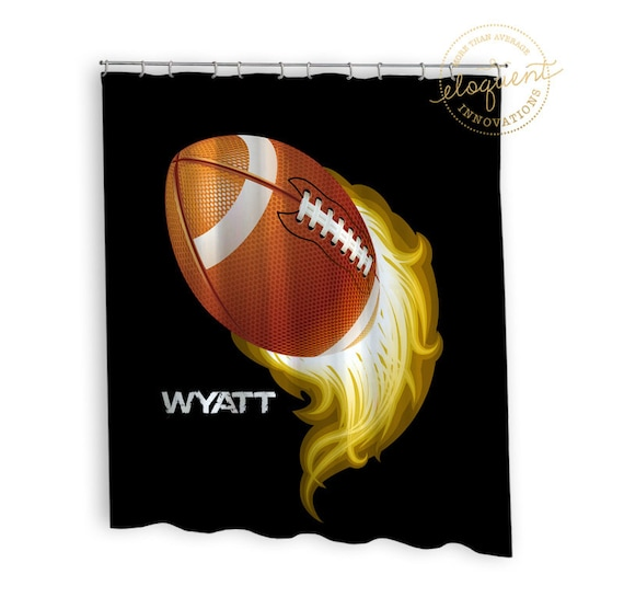 Football Shower Curtains Sports Boys Gold And Black