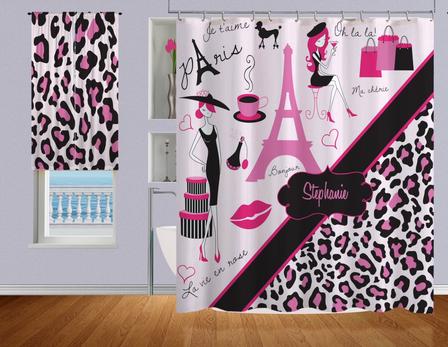 Pink Shower Curtain Cheetah Print Shower Curtain Fabric Paris Shower Curtain Bathroom Shower Curtains Personalized Shower Curtain 15