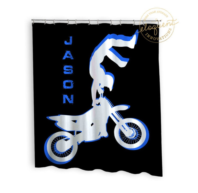 Personalized Motocross Shower Curtain Kids Boys Sports
