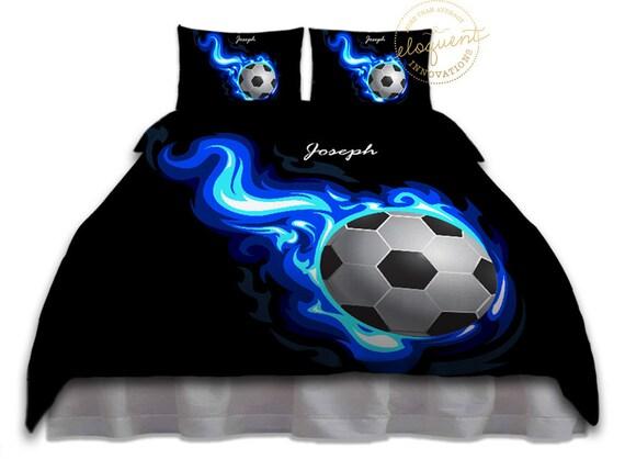 Jungen Fussball Bettwasche Troster Blue Flames Fussball Bettwasche Kinder Custom Personalisiert Konig Konigin Voller Twin Xl Grossen 252