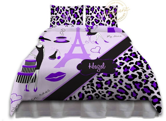 Paris Themed Bedding Sets Eiffel Tower Home Decor Purple
