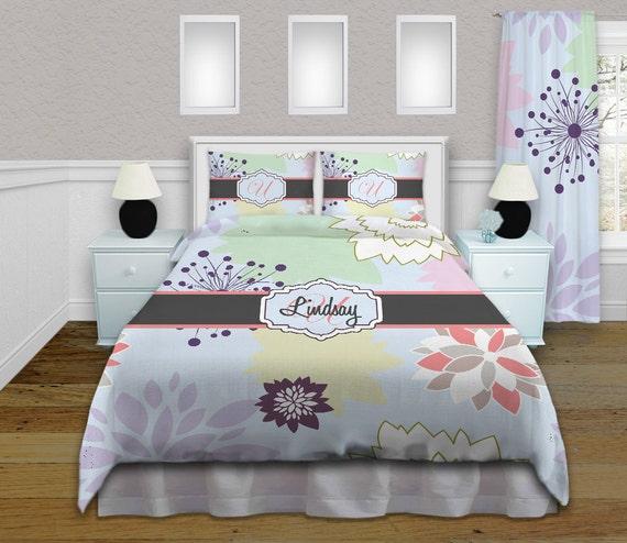 Blue Floral Duvet Cover Purple Dahlia Bedding Girls Kids Etsy
