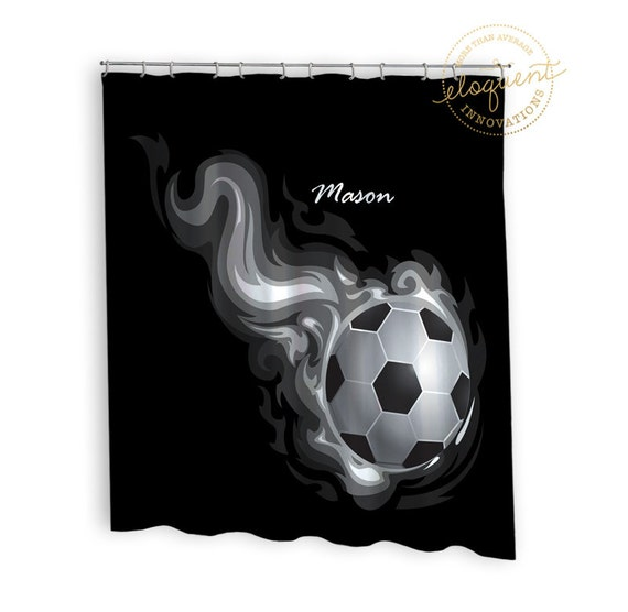 Soccer Shower Curtain Sports Black And White