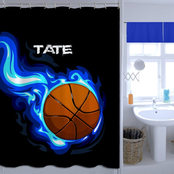 Boys Basketball Shower Cutain Monogrammed Curtain