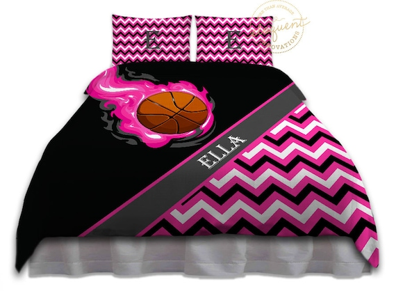 Couette Speciale Filles A Basketball Literie Rose Noir Etsy