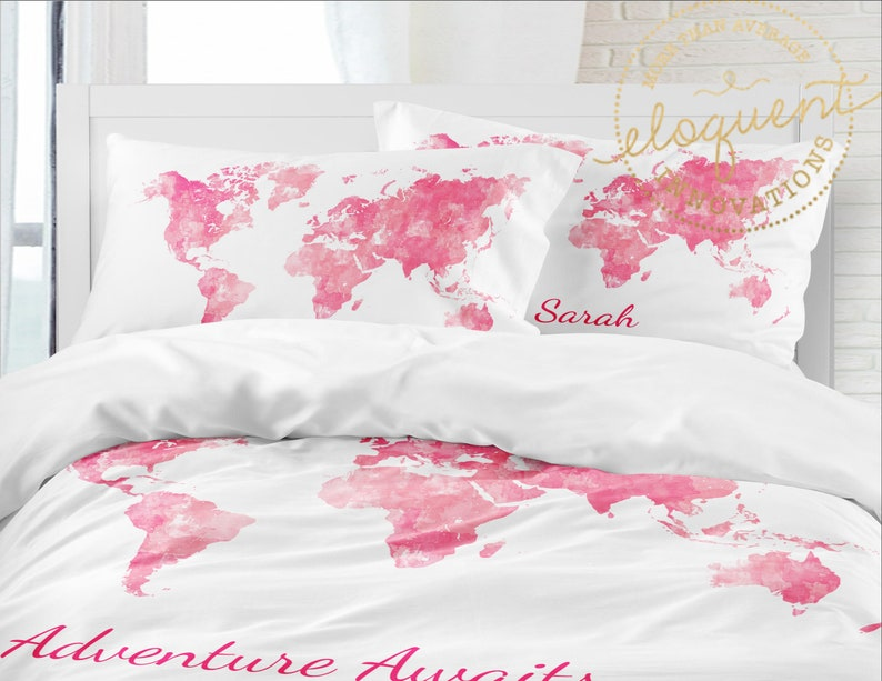 Map of the World Duvet Cover - Girls Pink Bedding Set - Personalized with  Name - Watercolor - Adventure Awaits, Twin, Queen/Full, King #398