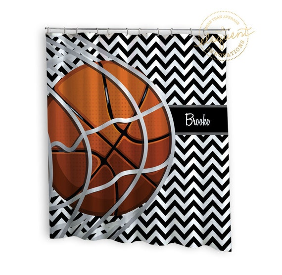 Basketball Shower Curtains Sports Chevron Black White