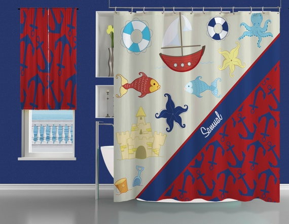 Shower Curtains Bath Home Monogrammed Curtain