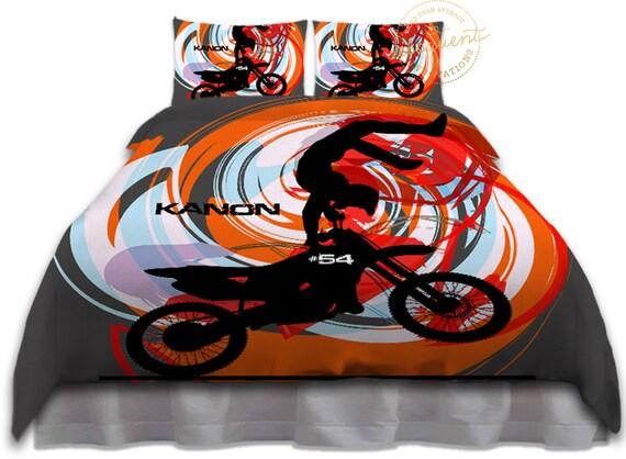 Housse De Couette Orange Motocross Literie Chambre Enfants Etsy