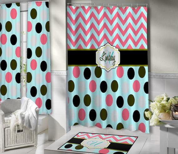 Mint Coral Girls Chevron Monogrammed Shower Curtain