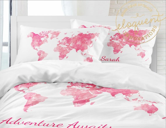 World Map Comforter Set -Personalized with Name - Girls Watercolor Pink  Bedding Set - Adventure Awaits Decor, Full/Queen, King, Twin xl #398